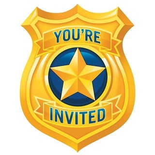 """Club Pack of 48 Yellow and Blue Police Party Invitation Place Cards 6"""" - GOLD"""