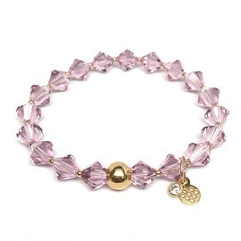 June Birthstone Color, Light Purple 'Rachel' Stretch Bracelet, Swarovski Crystal 14k over Sterling Silver