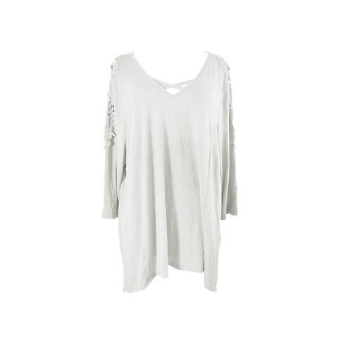 Style & Co Plus Size Warm Ivory Crocheted Bridge-Hem Top 0X