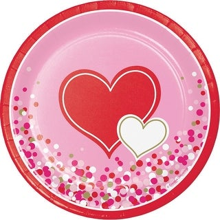 Pack of 96 Pink and Red Dual Hearten Printed Rounded Plate 6.875""