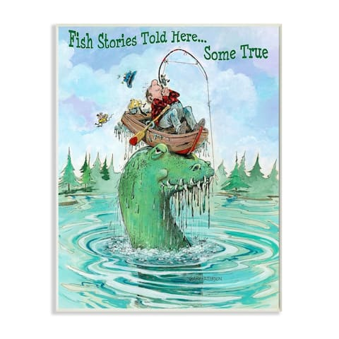 Stupell Industries Stories Told Here Funny Sports Fishing Cartoon Design Wood Wall Art