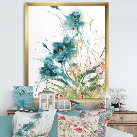 Designart 'Wild Blue Abstract Farmhouse Flowers' Modern Farmhouse Framed Art Print