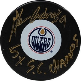 Glenn Anderson Signed Edmonton Oilers Puck w/ 5x S.C. Champs Insc