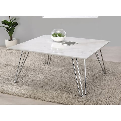 White and Chrome Hairpin Leg Square Coffee Table