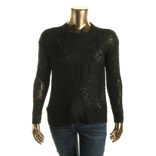 Oh MG! Womens Juniors Lace Overlay KNit Pullover Sweater