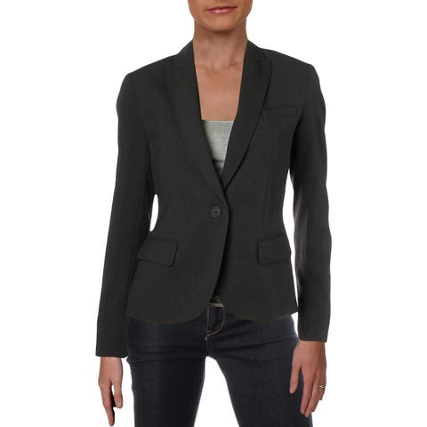 Anne Klein Womens One-Button Suit Jacket Long Sleeves Workwear