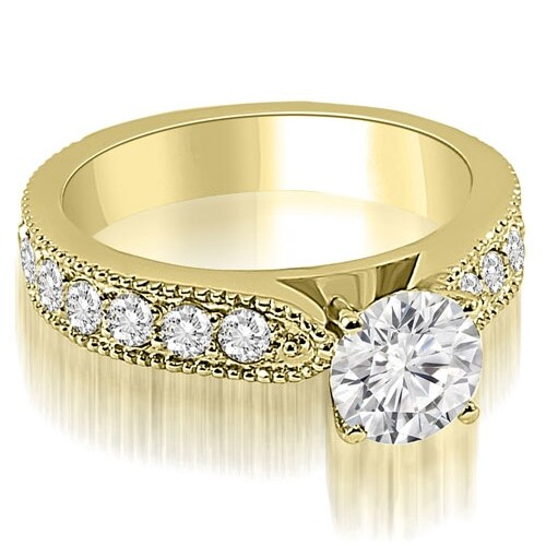 1.90 cttw. 14K Yellow Gold Antique Style Milgrain Round Diamond Engagement Ring