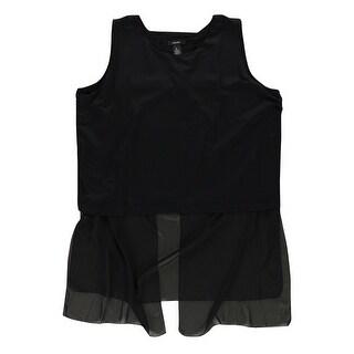 Alfani Womens Contrast Overlay Knit Blouse, black, X-Large