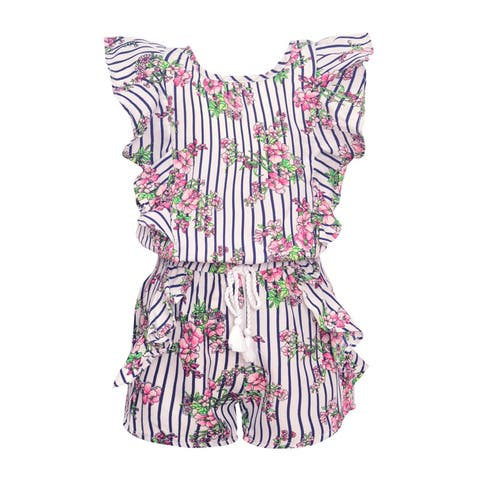d7ddeb063 Real Love Little Girls Navy Stripe Floral Print Ruffle Tassel Romper