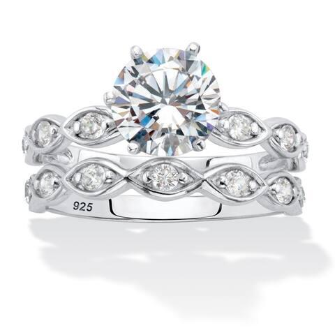 Platinum over Silver Round Cubic Zirconia 2 Piece Bridal Ring Set