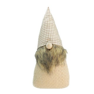 """16"""" Beige and Brown Natural Christmas Gnome Tabletop Figure"""