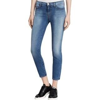 J Brand Womens Capri Jeans Mid-Rise Dark-Wash