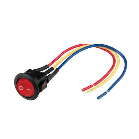 "Nippon mini rocker switch with 6"" lead wire red color LED"