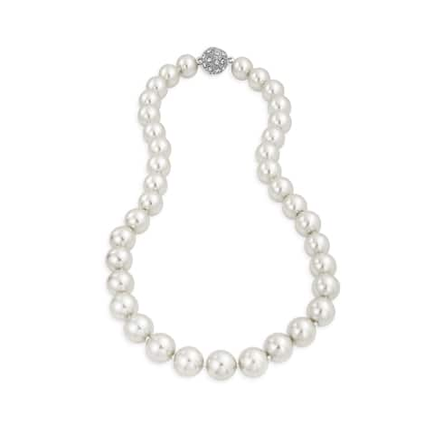 White Strand Necklace For Women Rhodium Plated Crystal Clasp Imitation Pearl 10mm 16 inch
