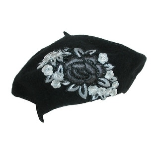 Something Special Women's Embroidered Floral Beret Hat - One size