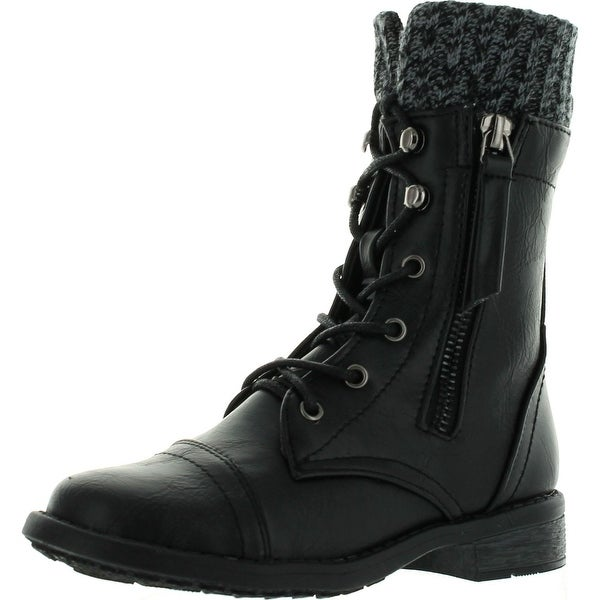 Link Girls Justina58k Kids Leatherette Sweater Cuff Lace Up Zip Decor Mid Calf Ankle Combat Boots - Black