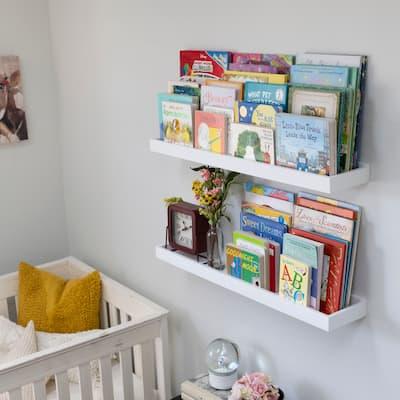 """Wallniture Philly 31.5"""" Floating Shelves for Nursery Decor, White Bookshelf (Set of 2)"""