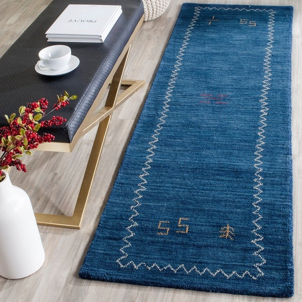 Safavieh Handmade Himalaya Blue Wool Gabbeh Runner Rug. Opens flyout.