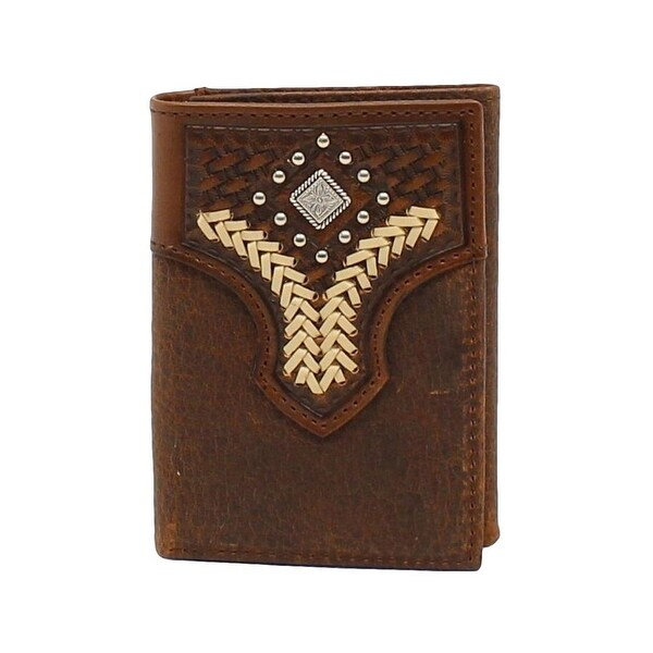 Nocona Western Wallet Mens Trifold Conchos Studs Medium Brown - One size