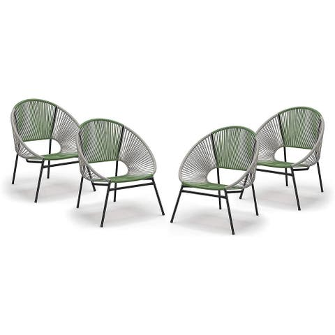 Patio Chair Set - Outdoor Stacking Chair - Resin Wicker Cord - 4 Pack