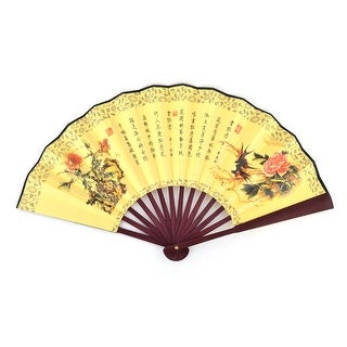 Home Accessory Bamboo Frame Bird Pattern Exquisite Cooling Handy Folding Fan