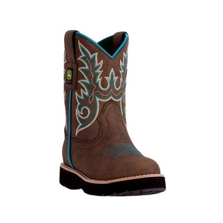 John Deere Western Boots Girls Kids Round Toe Steel Shank Brown JD2032