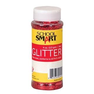 School Smart Glitter, 4 Ounce Jar, Red