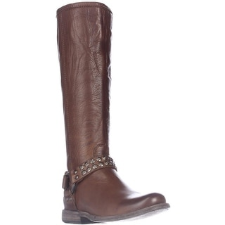 FRYE Phillip Studded Harness Tall Boots - Cognac