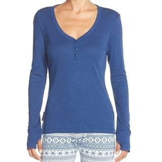 Ugg NEW Blue Women's Size Large L Henley Thermal Long Sleeve Sleepshirt
