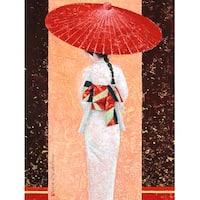 ''Girl in Kimono II'' by Mira Latour Asian Art Print (31.5 x 23.5 in.)