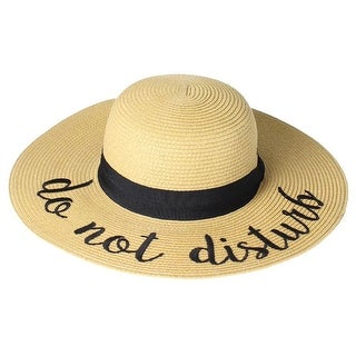 Women's Embroidered Straw Hats - Summer Gardening Wide Band - Do Not Disturb - Medium