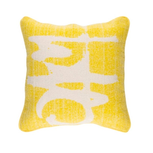 "20"" Canary Yellow and Taupe Gray Art Deco Woven Throw Pillow – Down Filler"