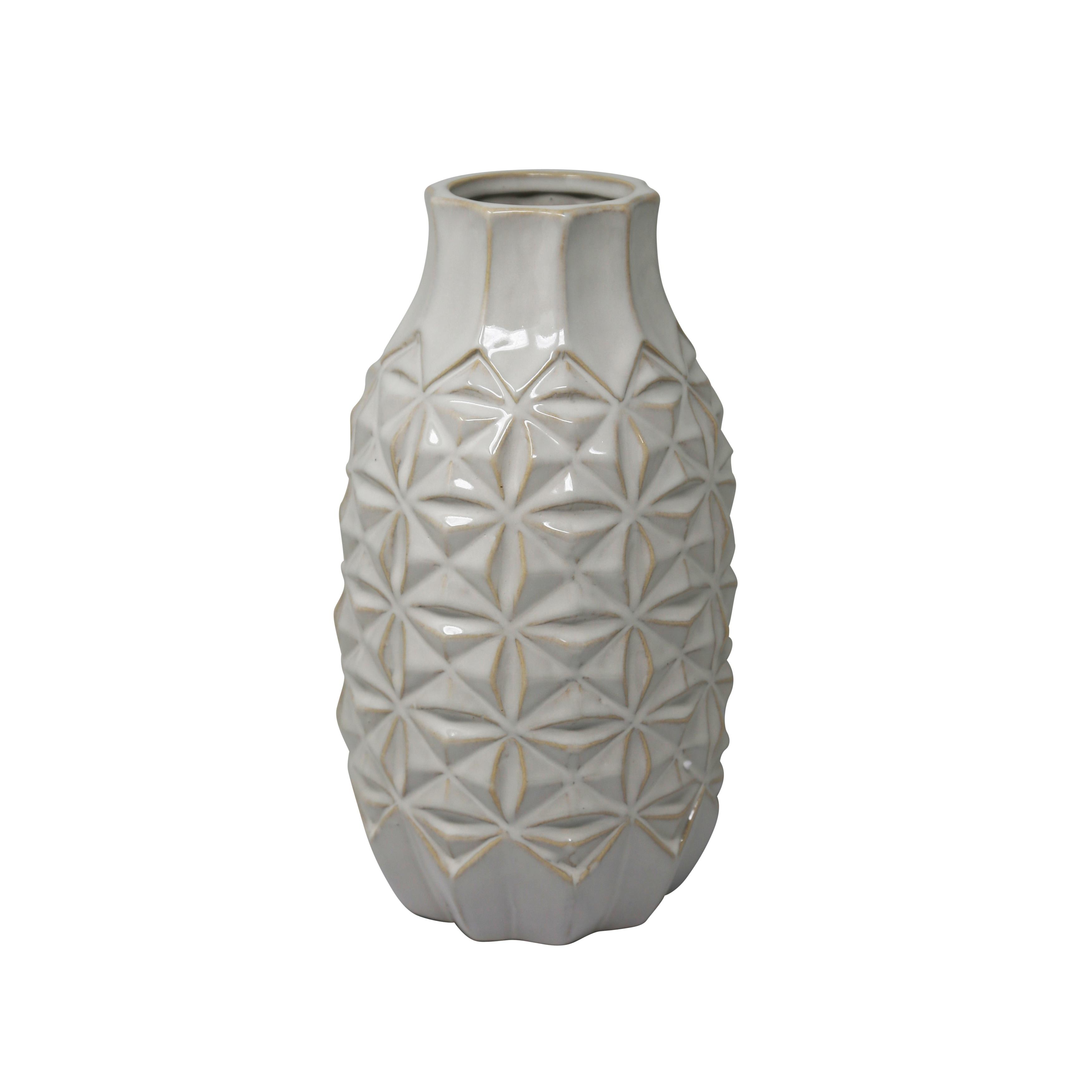 Ceramic Vase with Embossed Geometric Design Pattern, Medium, White