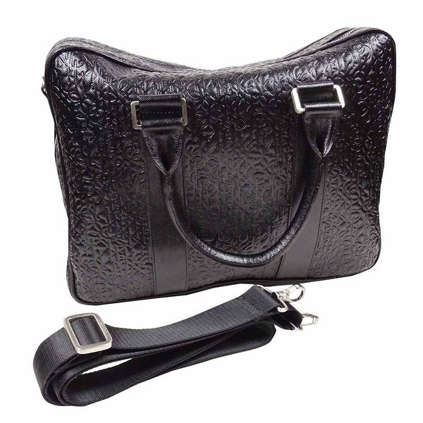ff7f5f9fc6d5 Calvin Klein Men's Logo Embossed Saffiano Leather Attache Case (OS, Black)  - Black