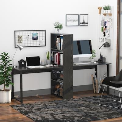 "HOMCOM 88"" Extra Long 2-Person Computer Desk w/ Bookshelf Combo Double Workstation Storage Unit Home Office"