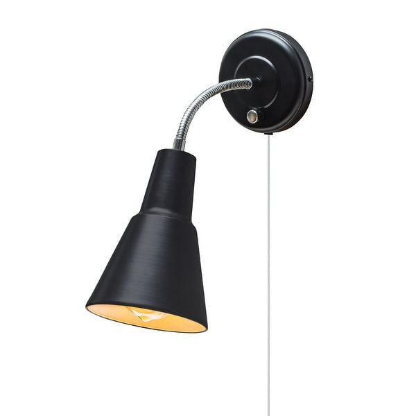 Globe Electric 65312 1-Light Wall Sconce with Black Metal Shade - Canopy On / Off Switch - ADA Compliant - N/A