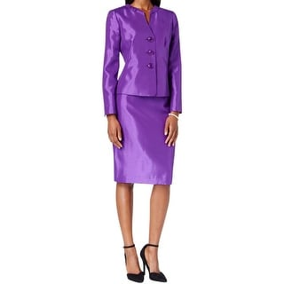 Le Suit Womens Skirt Suit Shantung Shimmer
