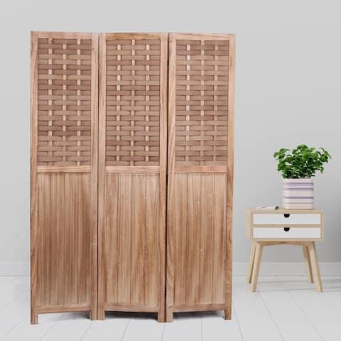 "COZAYH 3-Panel 67"" Half Shading Paulownia Solid Wood Frame Room Divider Privacy Screen"
