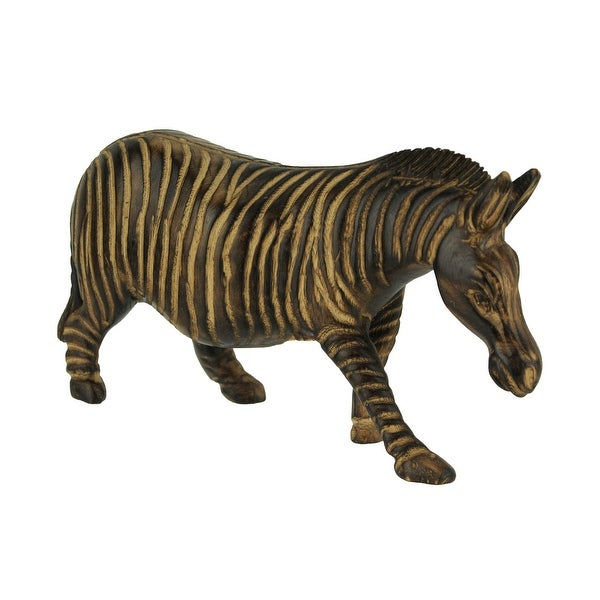 Hand Carved Wood Burned Finish Zebra Statue - 4.75 X 7.75 X 2.25 inches