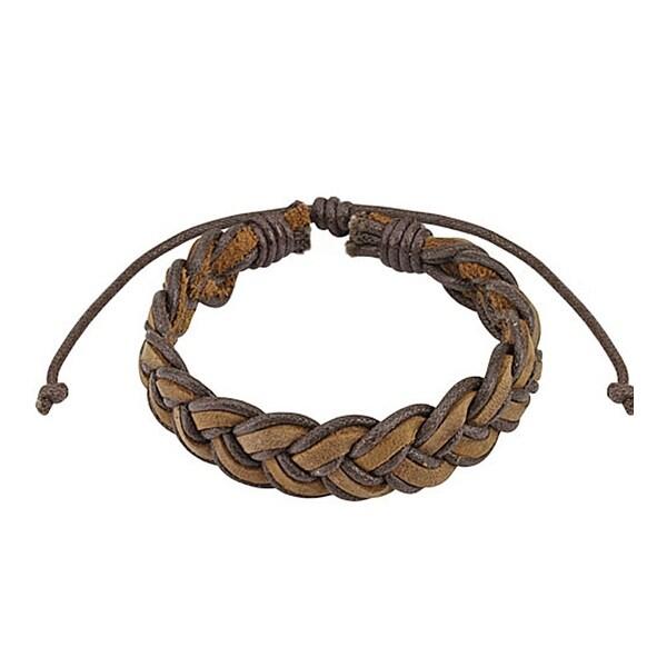 Brown Mermaid Braided Leather Bracelet with Drawstrings (10 mm) - 7.5 in