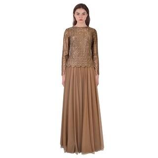 Tadashi Shoji Cutout Illusion Long Sleeve Evening Gown Dress