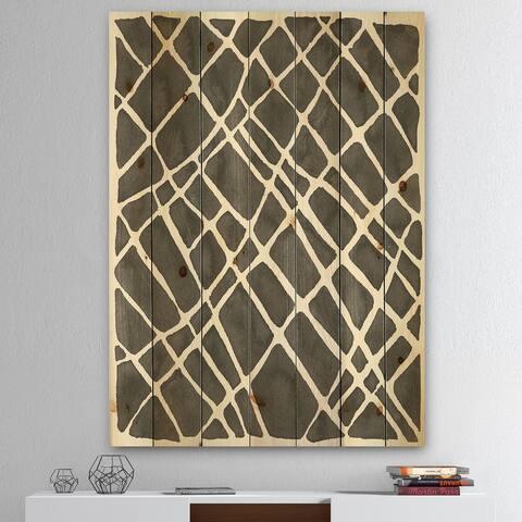 Designart 'Minimalist Graphics V' Transitional Print on Natural Pine Wood - Black