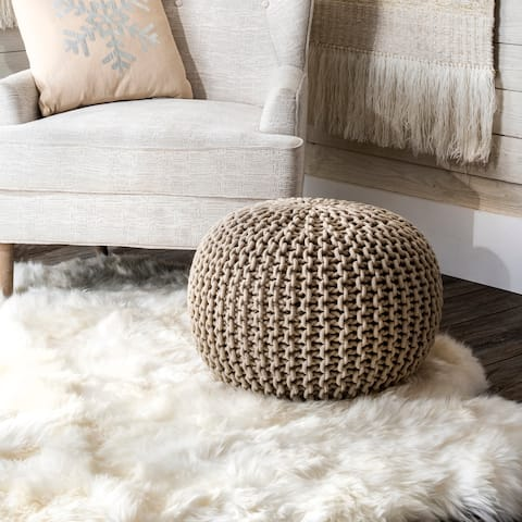 nuLOOM Bruges Knitted Solid Cotton Ottoman Pouf