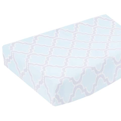 Pam Grace Creations Baby Blue Trellis styled changing pad cover