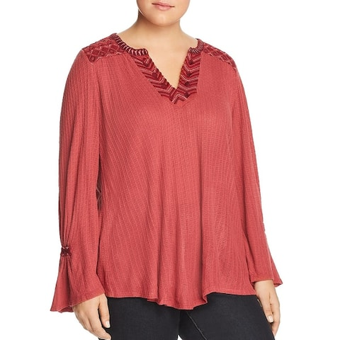 Lucky Brand Womens Plus T-Shirt Embroidered Tunic