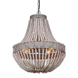 Vintage industrial wood chandelier,circular rustic wood beads chandelier - Rust