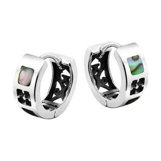 Link to Handmade Rainbow Stone Inlay Sterling Silver Huggie Hoop Lock Earrings (Thailand) Similar Items in Earrings