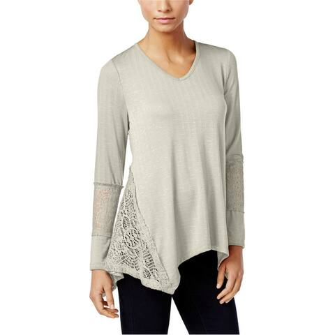 Style&Co. Womens Lace-Panel Basic T-Shirt