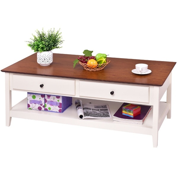 Coffee Table With Drawers Sale: Shop Gymax Wood Coffee Table Cocktail Table Rectangle W