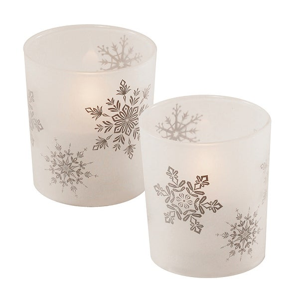 """Set of 2 Battery Operated White Snowflakes Design Frosted Glass with LED Candle 3.75"""" - N/A"""